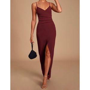 Lulus Secret Admirer Burgundy Ruched Maxi Dress